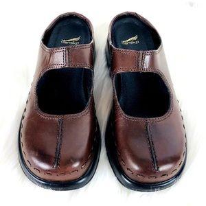 Dansko Midori Brown Leather Slip on Clogs Mules 41